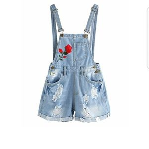 Denim - Distressed Embroidered Jean Overall Shorts